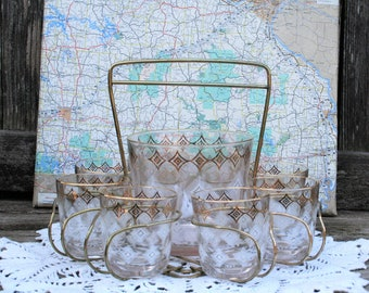 Mid Century / Vintage Barware Set Of 8 Gold And White Highball Glasses And Ice Bucket With Caddy