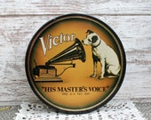 Nice Vintage RCA Victor Nipper Dog Tin Round Collectible