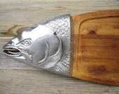 SALE european large salmon wood fish server, aluminum and wood, beautiful