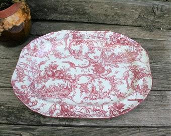 Provincial Garden Cranberry Oval Platter by SPODE