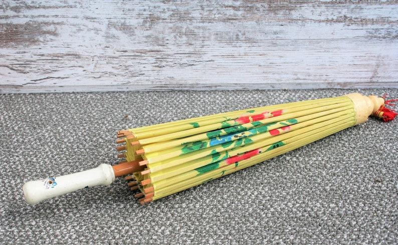 Small Asian Handpainted Design on Nylon or Silk Umbrella  Parasol  Home Decor