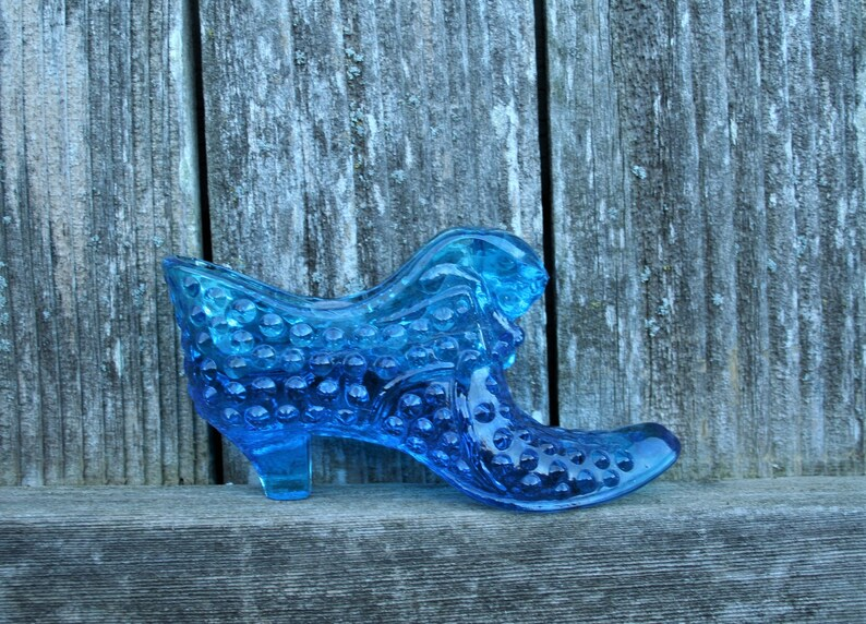 Fenton Blue Knobby Glass Shoe  Collectible