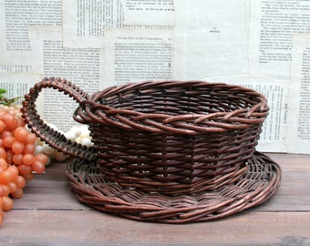 Adorable Vintage Cup and Saucer Wicker Basket