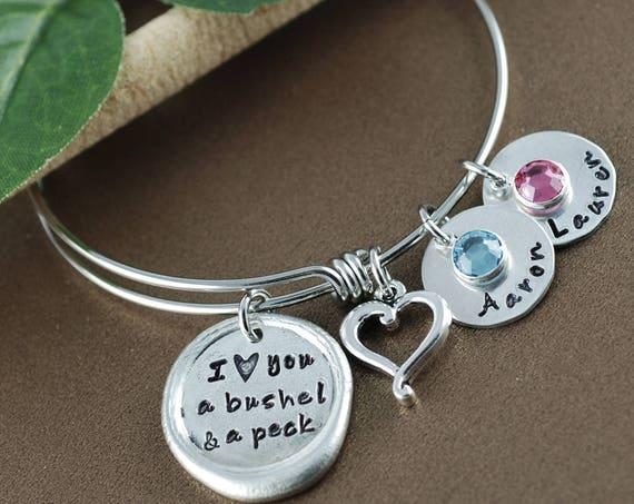 I love you a bushel and a peck Bracelet, Personalized Bangle Bracelet, Silver Bangle Charm Bracelet, Mothers Bracelet, Gift for Mom