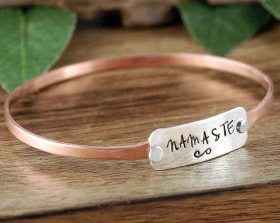 Namaste Bracelet, Yoga Jewelry, Bracelet for Yoga Lover, Lotus Bralelet, Lotus Jewelry, Yoga Bracelet, Personalized Bangle Bracelet