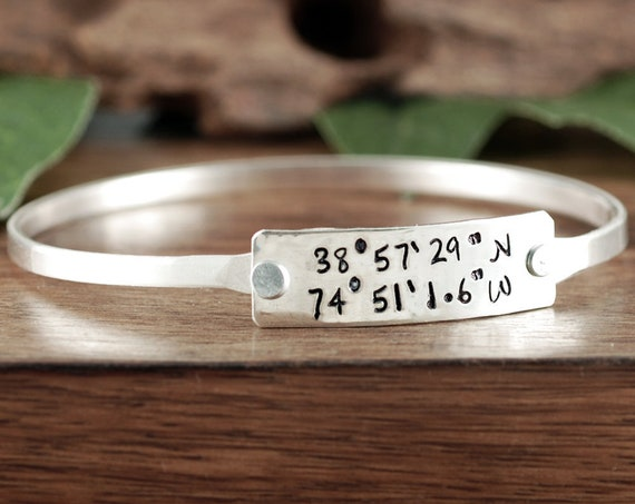 Custom Coordinate Bracelet, Coordinate Bangle Bracelet, Custom Location Jewelry, Personalized Coordinate Jewelry, Longitude Latitude Gift