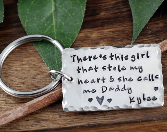 There's This Girl who stole My Heart Keychain, Father's Day Keychain, Gift for Grandpa, Daddy Keychains, Gift for Men, Personalized Keychain
