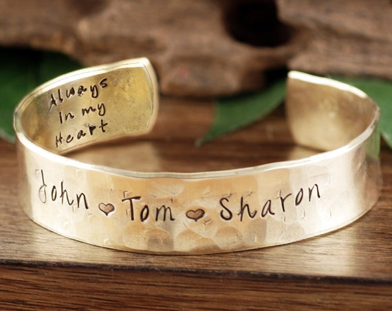 Personalized Cuff Bracelet for Dad, Name Bracelet, Custom Bracelet For Him, Father's Day Gift, Father Jewelry, Always in my Heart