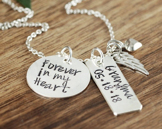 Forever in my Heart Necklace, Memorial Necklace, Remembrance Necklace, Infant Loss Gift, Grandparent Loss, Miscarriage Gift