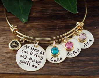 As long as I'm Living my Baby You'll be Gold Bracelet, Custom Bangle Bracelet, Personalized Gift, Mom Charm Bracelet, Personalized Bracelet