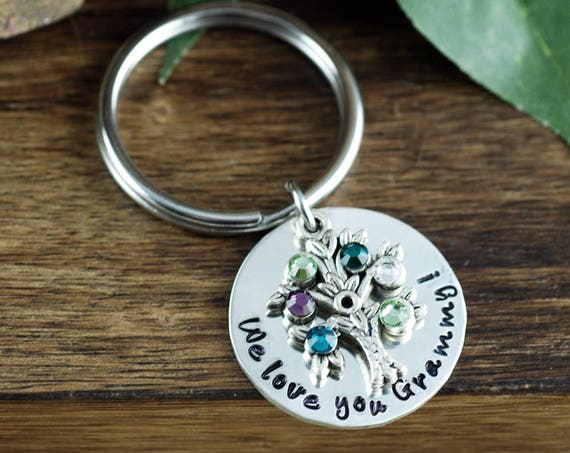 Silver Family Tree Birthstone Keychain, Tree of Life Keychain, Birthstone Charm Key Chain, Gift for Grandma, Mothers Day gift