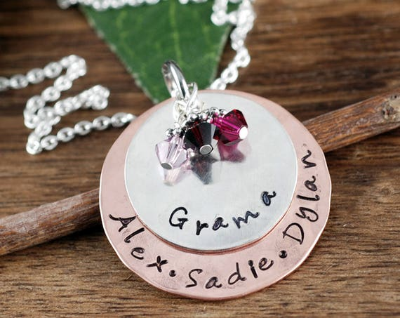 Personalized Grandma Necklace Jewelry, Hand Stamped Necklace, Nana Necklace, Personalized Jewelry, Grandkids Name Necklace, Gift for Grandma