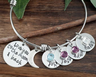 Love you to the Moon and Back Bracelet, Personalized Grandma Bracelet, Custom Bracelet, Signature Jewelry, Engraved Bracelet, Gift for Mom