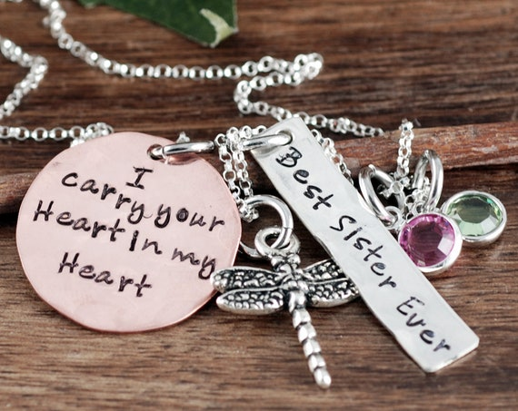 Memorial Necklace, I Carry your Heart in my Heart, Dragonfly Personalized Sister Necklace, Sister Jewelry, Loss of Sister, Mom