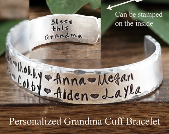 Personalized Grandma Cuff Bracelet, Name Bracelet, Custom Bracelet For Grandma, Kids Name Jewelry, Mothers Day Bracelet, Grandma Jewelry