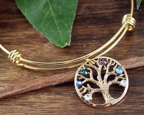 Family Tree Bracelet, Grandma Bangle Bracelet, Tree of Life Bracelet, Gold Tree of Life Bangle Bracelet, Birthstone Charm Bracelet