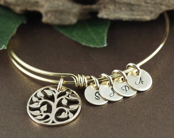 Gold Family Bracelet, Tree of Life Bracelet, Mommy Gold Tree Bracelet, Tree of Life Bangle, Initial Bangle Bracelet, Gold Grandma Bracelet