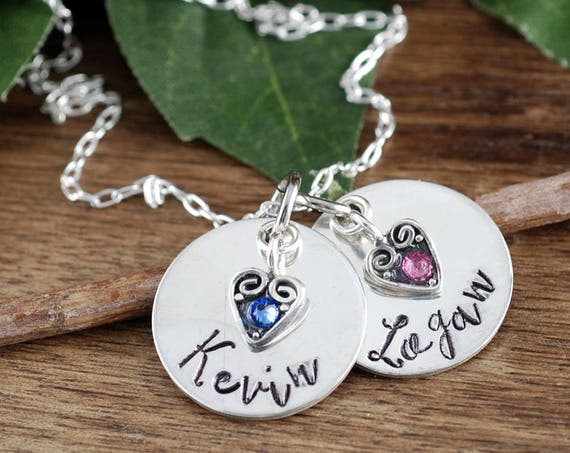 Personalized Name Necklace with Birthstones, Mothers Necklaces with Kids Names, Hand Stamped Mommy Necklace, Birthstone Necklace