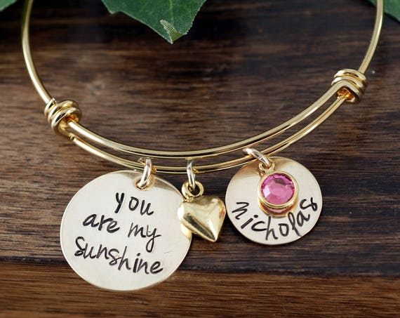 You are my Sunshine Gold Personalized Bracelet, Mothers Birthstone Bracelet, Custom Bangle Bracelet, Signature Jewelry, Engraved Bracelet