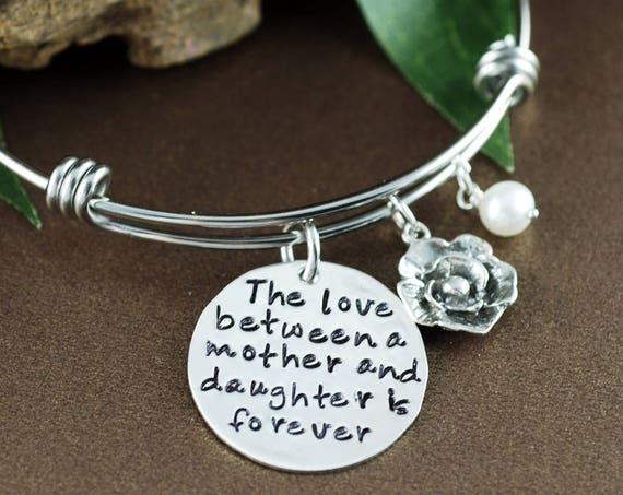 The love between a mothe and daughter is forever Bracelet, Mother & Daughter Bracelet, Silver Rose Bracelet, Gift for Mom, Mothers Day Gift