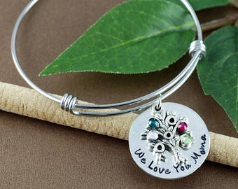 Silver Family Tree Birthstone Bracelet, Tree of Life Bangle Bracelet, Birthstone Charm Bracelet, Gift for Grandma, Mothers Day gift