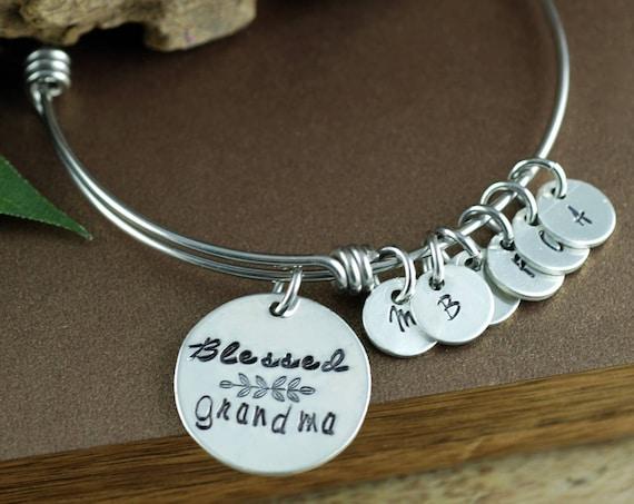 Grandmother Bracelet, Personalized Charm Bracelet, Gift for Grandma, Mothers Day Gift, Initial Bracelet, Blessed Grandma Bracelet