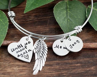 Until we Meet Again, Memorial Jewelry, Sympathy Gift, Personalized Jewelry, Angel Wing Bracelet, Hand Stamped Bracelet, Loss of Loved One