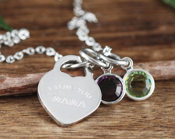 I Love you Mama Necklace, Personalized Mom Necklace, Birthstone Necklace for Mom, Mother's Day Gift, Gift for Mom, Grandma Jewelry