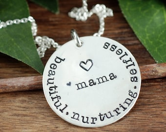 Mama Necklace, GIft for Mother, Mothers Day Gift, Sterling Silver Necklace, Gift for Mom, Hand Stamped Necklace for Mom, Inspriational GIft