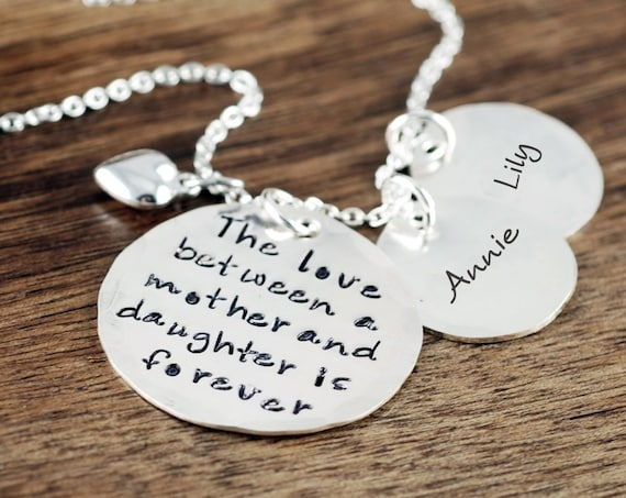 Personalized Mother.s Necklace, Mommy Necklace, Christmas Gift for Mom, Hand Stamped Necklace, Love betwen a Mother and Daughter is Forever