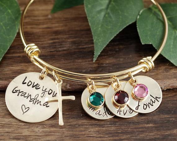 Grandma Bracelet, Personalized Grandmother Bracelet, Mommy Bangle Bracelet, Personalized Nana Bracelet, Gift For Nana, Kids Names
