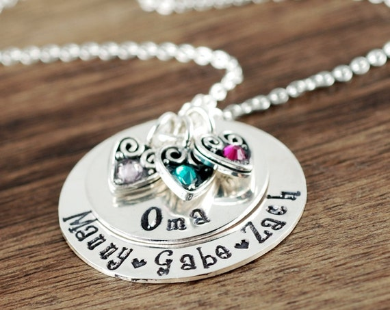Personalized Oma Necklace, Engraved Necklace, Oma Birthstone Necklace, Nana Heart Necklace, Gift for Oma, Christmas Gift