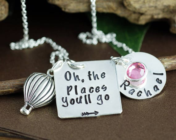 Oh the Places You'll Go Graduation Necklace | Personalized Graduation Gift | Hand Stamped Necklace | Gift for Graduate | Hot Air Balloon
