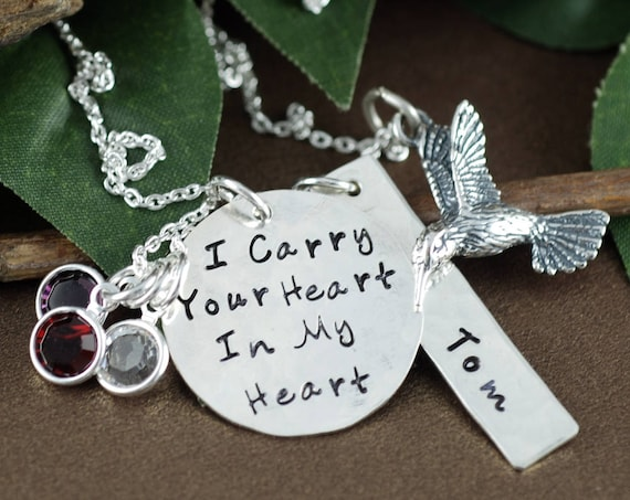 Memorial Necklace, Hummingbird Jewelry, Hand Stamped Jewelry, Personalized Jewelry, I carry your heart in my heart, Sterling Si