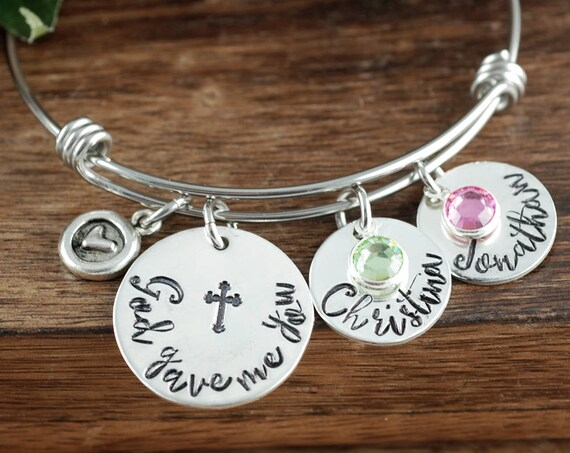 God Gave me You Bracelet, Personalized Mother's Bracelet, Hand Stamped Bracelet, Religious Bracelet, Christmas Gift for Mom, Gift for Wife