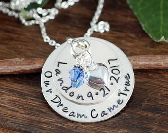 Mommy Necklace, Necklace with Kids Names, Personalized Jewelry, Custom Hand Stamped Necklace, Our dream come true, Adoption Necklace