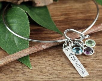 SIlver Heart Bracelet, Grandma Birthstone Bracelet, Birthstone Jewelry, Birthstone Bracelet, Mother's Day Bracelet, GIft for Grandma