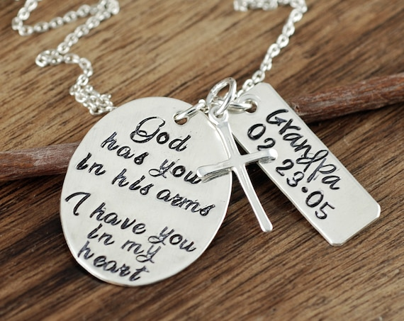 God has you in his arms I have you in my Heart, Memorial Necklace, Remembrance Gift, Loss of Child, Parent Loss, Silver Cross Necklace