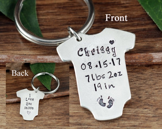Father's Day Gift, Baby Stats Keychain for Dad, New Dad Keychain, Baby Statistics, Onesie Keychain, Gift for Dad, Baby Weight, Time, Date