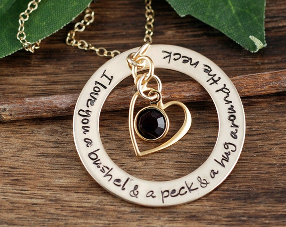 I love you a bushel and a peck and a hug around your neck, Mother's Day Gift, Mother's Necklace, Personalized Mommy Necklace, Gift for Mom