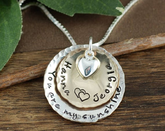 You are my Sunshine, Hand Stamped Mother's Necklace, Personalized Mother's Jewelry, GIft for Mom, Mother Daughter Necklace Sunshine Necklace