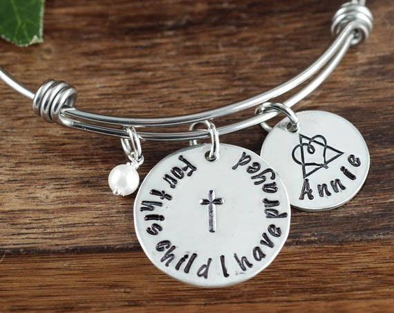 For this child I have Prayed, Personalized Adoption Jewelry, Adoption Bracelet, New Baby Gift, Push Present,Foster Parent, Adoption Day Gift