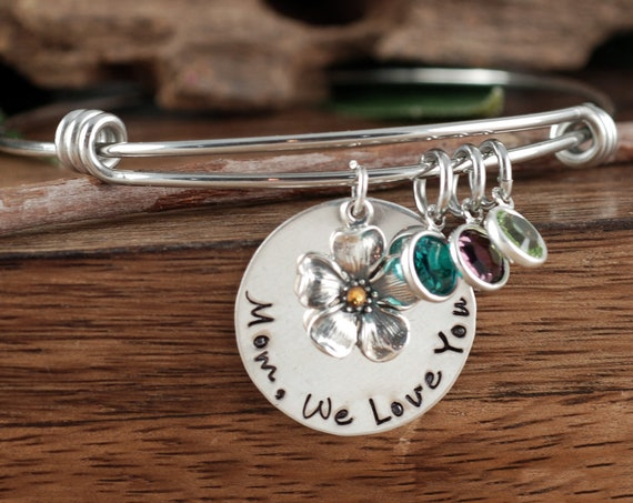 Mother's Day Bracelet, Personalized Mom Bracelet, We Love You, Charm Bracelet for Mom, Cherry Blossom Jewelry, Gift for Mom, Mothers Day