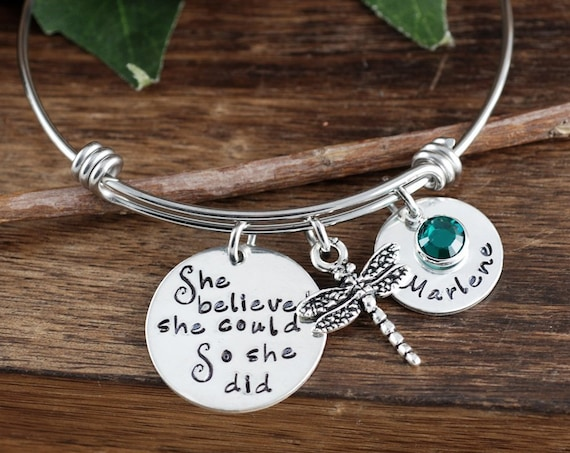 She Believed She Could So She Did Bangle Bracelet, Graduation Gift, Inspirational Bracelet, Dragonfly Bracelet, Gift for Graduate
