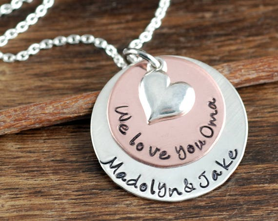 Personalized Grandma Jewelry, We Love you Oma, Hand Stamped Necklace, We Love You Grandma, Grandmother Necklace, Gift for Grandma, Oma