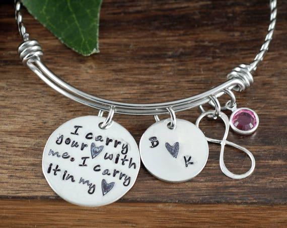 I carry your heart with me Bangle, Infinity Bangle, Personalized Twisted Bangle Bracelet, E. E. Cummings Poem, Hand Stamped Bangle