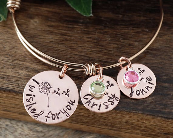 I Wished for You Bracelet, Personalized Mother's Bracelet, Custom Name Bracelet, Signature Jewelry, Engraved Bracelet, Gift for Mom