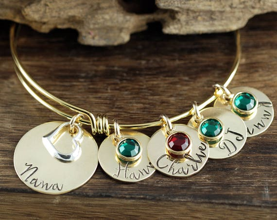 Grandmother Bracelet, Personalized Grandma Bracelet, Hand Stamped Grandma Jewelry, Personalized Jewelry, Gift for Her, Gift for Grandma