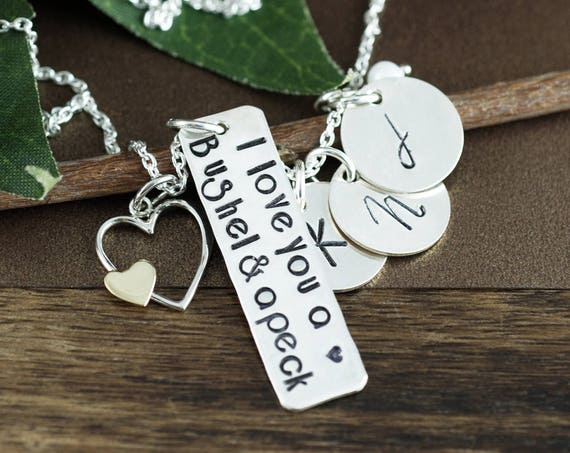 I love you a Bushel and a Peck Necklace, Personalized Mommy Jewelry, Silver Heart, Hand Stamped Jewelry, Gift for Mom, Initial Jewelry