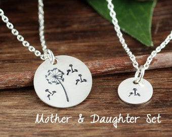 Dandelion Charm Necklace, Mother's Day Gift, Dandelion Necklace, Mother Daughter Necklace Set, Wish Necklace, Dandelion Seeds, Gift for Mom